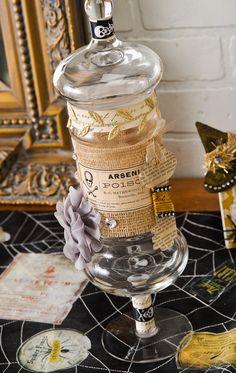 DIY Apothecary Halloween Candy Jar made with Mod Podge and Burlap