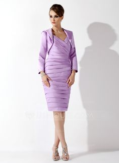 [US$ 124.99] Sheath/Column Sweetheart Knee-Length Satin Mother of the Bride Dress With Ruffle Beading (008006163)