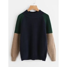 Contrast Raglan Sleeve Sweater ❤ liked on Polyvore featuring tops, sweaters, raglan top, blue top, blue sweater, raglan sleeve top and raglan sweater