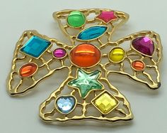 JJ Jonette Large Maltese Cross Brooch Pin Gold  Tone Multi Colored Star  #JJJonette
