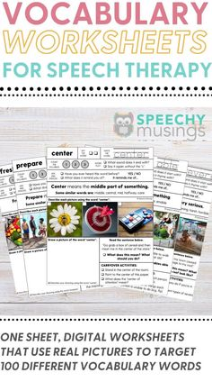 These vocabulary worksheets give multiple exposures to both tier 1 and tier 2 vocabulary words.perfect for providing direct vocabulary instruction during speech and language therapy! They're evidence-based, effective, and take absolutely no prep work - just print and go! This file includes worksheets to target 100 different vocabulary words so you'll have print and go, no-prepvocabulary worksheets that will last you for many years! #speechtherapyvacabularyactivities #vocabularyactivities Vocabulary Instruction, Vocabulary Worksheets, Vocabulary Words, Receptive Language, Speech And Language, Speech Therapy Activities, Language Activities, Figurative Language Activity, Phonological Awareness Activities