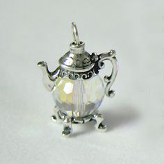 Small Sterling Silver and Clear Crystal Teapot Charm