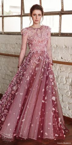 chana marelus fall 2019 bridal cap sleeves jewel neck sheer bodice fully embellished a line ball gown wedding dress (14) pink blush purple color princess modern mv -- Chana Marelus Fall/Winter 2019 Wedding Dresses | Wedding Inspirasi #wedding #weddings #bridal #weddingdress #weddingdresses #bride #fashion  ~ Shrug For Dresses, Lovely Dresses, Ball Dresses, Beautiful Gowns, Elegant Dresses, Ball Gowns, Formal Dresses, Western Wedding Dresses, Pink Gowns