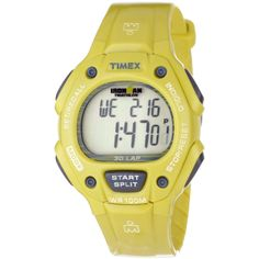 Timex Unisex T5K684 Ironman Traditional 30-Lap Glimmer Full-Size Yellow Sheen Resin Strap Watch