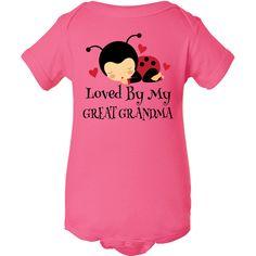 Loved By My Great Grandma Infant Creeper Raspberry $16.99 www.personalizedfamilytshirts.com