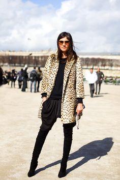 emmanuelle alt in retro style leopard midi coat . streetstyle