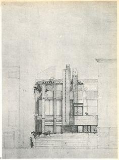 Carlo Scarpa. Casabella, 1958. Line drawing.