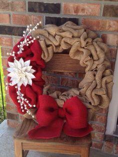 Winter Burlap Wreath by PrettyLittlePaisley on Etsy - Wreaths - Burlap Crafts, Wreath Crafts, Diy Wreath, Wreath Ideas, Tulle Wreath, Holiday Wreaths, Holiday Crafts, Christmas Decorations, Winter Wreaths