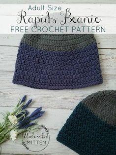 7e58aefe89b Rapids Beanie Free Crochet Pattern - Adult Sizes. Crochet Beanies For MenCrochet  Hat ...