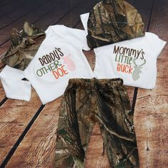 'Daddy's Other Doe' and 'Mommy's Little Buck' Camo Baby Sets