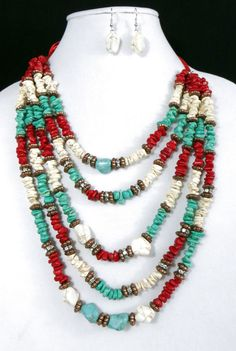 Cowgirl Bling Necklace Gypsy Southwest Copper Turquoise White Red Coral beads  #rojo