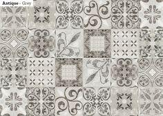 Ihastuttavilla Antique-laatoilla teet persoonallisen sisustuksen. Marrakesh –tyylinen kuviointi ja kuvion useat sävyt sopivat hyvin yhdistettäväksi muiden samansävyisten laattojen kanssa ja on parhaimmillaan tehosteseinänä, esim. kalusteryhmän taustalla.