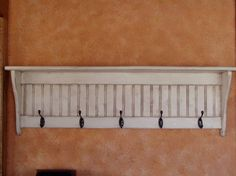 Coat Rack Primitive Wall Shelf Wood Display by appletreewoodcrafts, $64.35