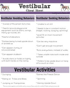 Vestibular Cheat Sheet | Perfect for understanding kids that can't sit still