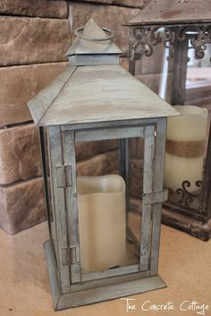 The Concrete Cottage: Metal Lantern Revamp with Chalk Paint & Wax