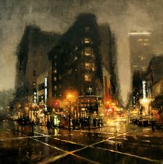"The Traditional Work of Jeremy Mann - Cityscapes ""Market St., Night in Green"" - Oil on Panel - 48 x 48 in. Watercolor Landscape, Landscape Paintings, Watercolor Art, Oil Paintings, Art Mann, Ville New York, City Painting, City Art, Urban Landscape"