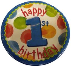 """Custom & Unique {7"""" Inch} 8 Count Multi-Pack Set of Medium Size Round Circle Disposable Paper Plates w/ Cute Polka Dotted Baby Boys 1st First Birthday w/ Fun Border """"Blue White Green Orange Colored"""""""