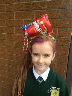Crazy hair style for school fun day. Rainbow hair