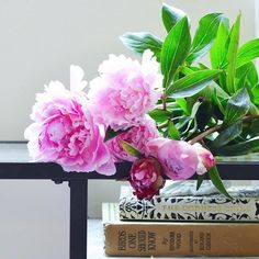 Grateful for fluffy peonies and vintage birdwatching books 🌸 #ayearofthanks