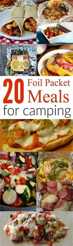 20 Meals for Camping! On-the-grill meal ideas for dinner! Meals for Camping! On-the-grill meal ideas for dinner! Meals for Camping! On-the-grill meal ideas for dinner! Camping Desserts, Camping Foil Meals, Camping Meals For Kids, Foil Pack Meals, Camping Snacks, Kids Meals, Easy Meals, Camping Ideas, Outdoor Camping