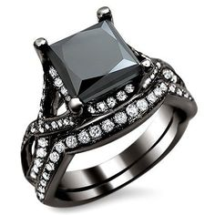 Black Princess Cut Diamond Engagement Ring #blackdiamondgem  http://blackdiamondgemstone.com/jewelry/wedding-anniversary/bridal-sets/270ct-black-princess-cut-diamond-engagement-ring-bridal-set-18k-black-gold-rhodium-plating-over-white-gold-com/#sthash.DU91j1wI.dpuf