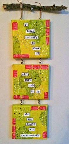 PaperArtsy: GD: Ellen Vargo project #2 Hanging Canvas Trio