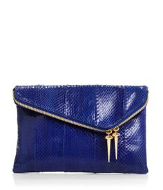 Debutante Asymmetric Snake Clutch | Hues of Blues | Henri Bendel