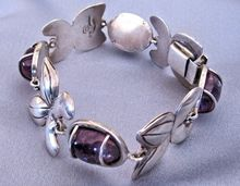 """Mexican Amethyst Sterling Floral Bracelet - Conjoined """"CAT"""" Hallmark"""