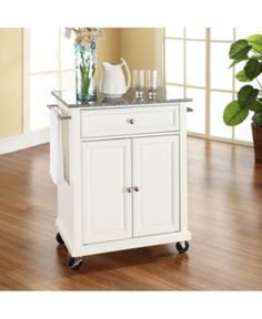 Crosley Furniture Stainless Steel Top Portable Kitchen Cart-Island in White Finish Portable Kitchen Island, Rolling Kitchen Island, Kitchen Island Cart, Compact Kitchen, Ikea Kitchen, Kitchen Furniture, Kitchen Decor, Kitchen Ideas, Kitchen Islands