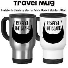 Travel Mug, Respect The Beard Beard Art Beard Beard Gift Facial Hair Man Mug Masculine Mug Beard Lover, Stainless Steel, 14 oz - Gift Idea