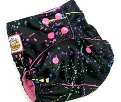 PINK NEON PAINT SPLATTERS PUL ONE SIZE POCKET CLOTH DIAPER 12-35+LBS