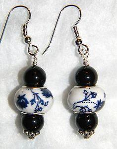 #11226 Black Pearl w/Beautiful Blue & White Ceramic Handmade Spacer Earrings