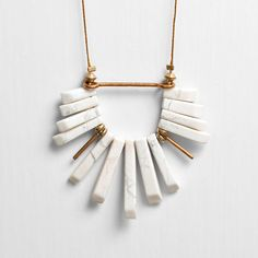White Howlite Fan Cord Necklace with Brass Accents by Deuce Fashion.