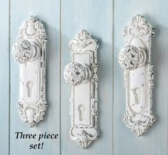 Antique Door Knob Wall Hooks - Set of 3