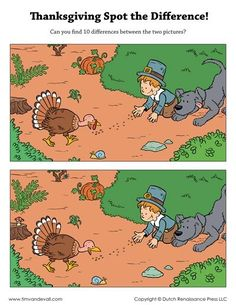 Print a free Thanksgiving Spot the Difference, depicting a Pilgrim boy feeding a turkey. There are ten differences between the two scenes. Spot The Difference Printable, Spot The Difference Kids, Activity Sheets, Activity Centers, Find The Difference Pictures, Visual Perception Activities, Mazes For Kids, Hidden Pictures, Educational Games For Kids