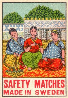 Wonderful Vintage Match Labels Made in Sweden