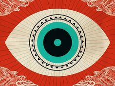 eye, cartograph, geometric, triangles, turquoise, coral, faded black