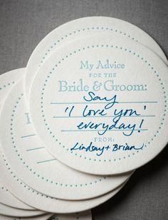 advice coasters/guestbook!! Creative Wedding Ideas: Words of Wisdom Keepsakes