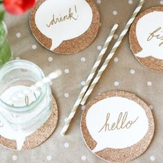 Make your own set of cork coasters, trivets, or even place mats and decorate with your fav conversation bubble. Super easy step by step.