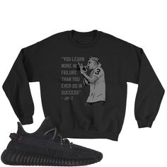 Yeezy Boost 350 Black Sweatshirt Yeezy Boost 350 Black, Jay Z, Fabric Weights, Youth, Sweatshirts, Jet, Crew Neck, Chart, Cotton