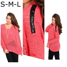 Final Price  High low sweater leather detailing Coral color high low knitted sweater with long dropped sleeves with faux leather grayling with star shape studs . Same style also available in Teal . Other sizes and color also available . Tag says S/M. Sweaters Crew & Scoop Necks