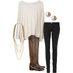 Chic. And it will make you look 10 pounds thinner with the skinny jean and tall flat boot.