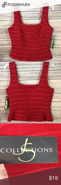 JS Collections red sleeveless top. NWT NWT Red sleeveless top. Fully lined and back zipper JS Collections Tops Blouses