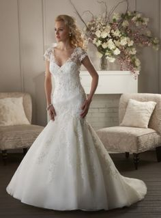 Wedding Dresses Mermaid Style with V-neck,Embroidery,Lace Fabric,Court Trumpet Style Wedding Dress, Wedding Dress Sash, Applique Wedding Dress, Wedding Dress Sleeves, Elegant Wedding Dress, Wedding Dress Styles, Cheap Wedding Dresses Online, Affordable Wedding Dresses, Organza Bridal