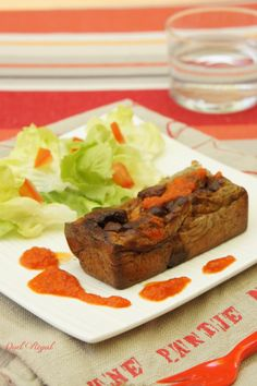 pain d'aubergine/ eggplant loaf with tomato sauce