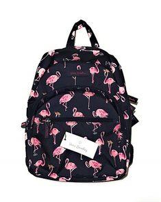 Leather Summer Flamingo Palm Backpack Daypack Bag Women