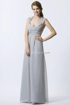 elegant-v-neck-silver-bridesmaid-dresses