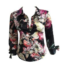 Just Cavalli floral stretch blouse with bow tie cuffs size small. | From a collection of rare vintage blouses at https://www.1stdibs.com/fashion/clothing/blouses/ @1stdibscom @RobertoCavalli #fashion