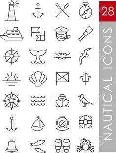 Set Nautische Symbole Und Design-Elemente Im Vintage-Linienstil Lizenzfrei Nutzbare Vektorgrafiken, Clip Arts, Illustrationen. Image 36061199. Mehr