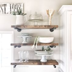 Rustic wood shelves. Would love this in the new kitchen. Open shelving DIY ideas.